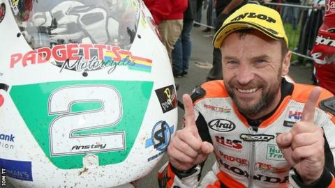 Bruce Anstey with his motorbike