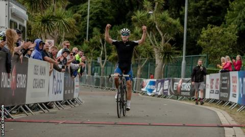 Nathan Draper crosses the line to take victory at the Gran Fondo Isle of Man