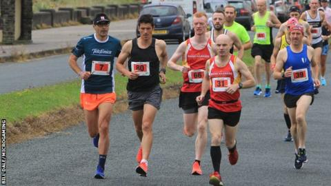 Christian Varley leads the field in the Isle of Man marathon