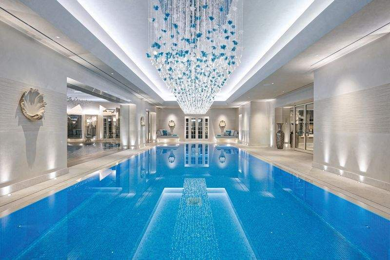 It features a plush indoor pool