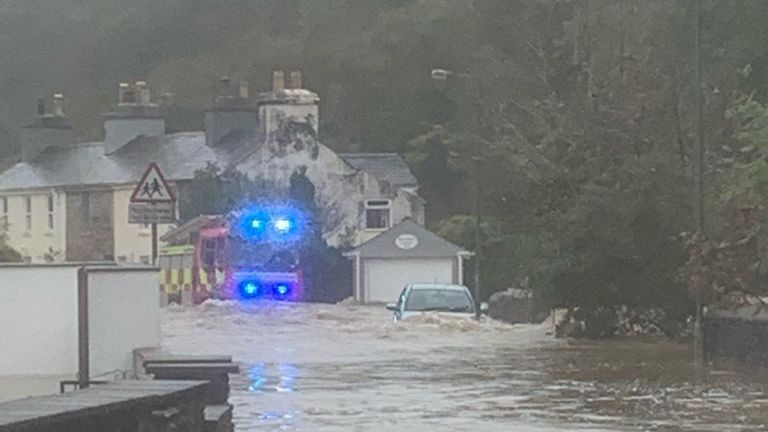 Police in Isle of Man shared a picture of flooding further down Laxey river