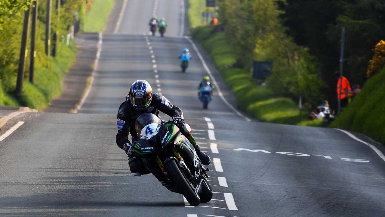 Riders racing on public roads in the annual Isle of Man TT 2016