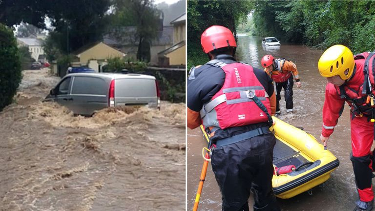 Glenn Road in Laxey, Isle of Man (L) and rescue workers save a driver in trouble in Derbyshire