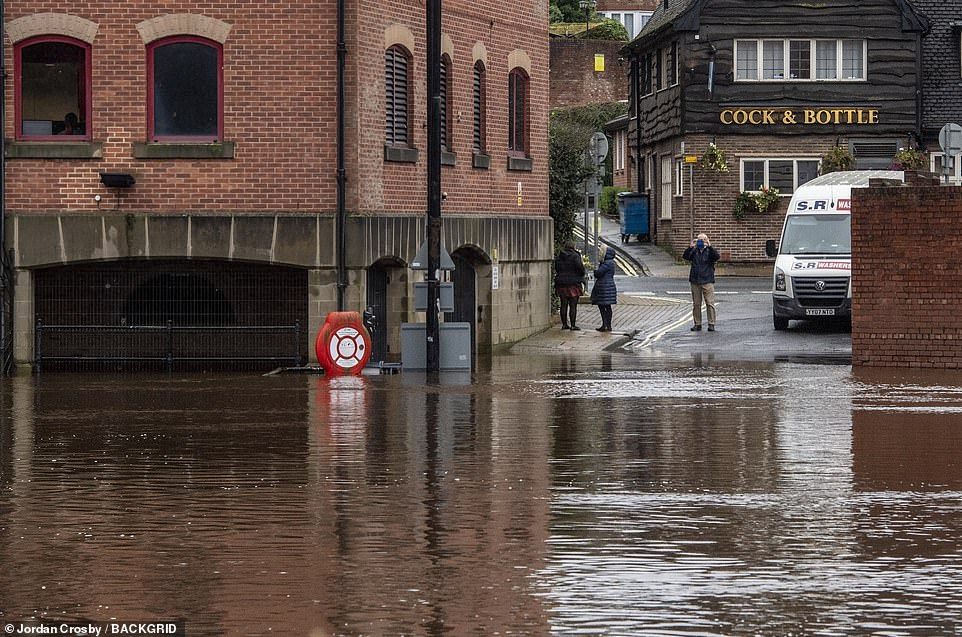 The River Ouse in York city centre has burst its banks today following heavy rainfall in North Yorkshire and other areas