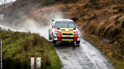 Driver Aaron Newby and co-driver Robert Fagg on the Isle of Man